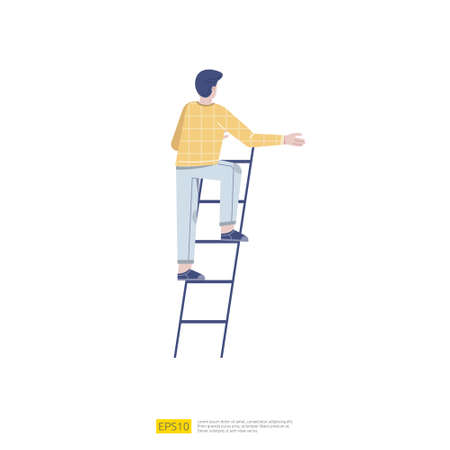 Businessman stepping up the stairs. Business career development illustration concept. Male climbing stairs to success and progress