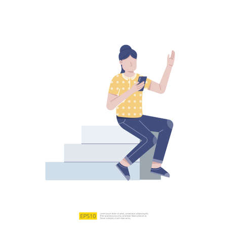 Woman with mobile phone texting sitting on stair. Girl holds smartphone in her hand. female character chilling and browsing social media on mobile device. Cartoon flat vector illustration