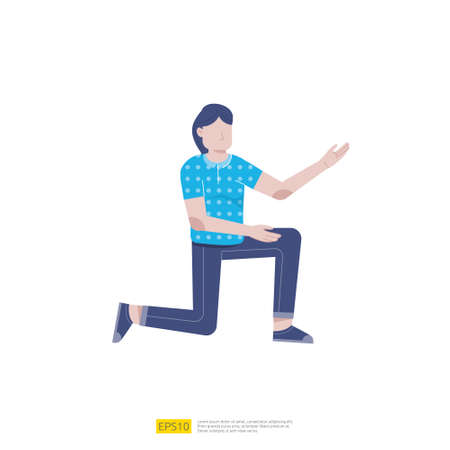 businesswoman or young woman worker character presentation pose with hand gesture in flat style isolated vector illustration Ilustração