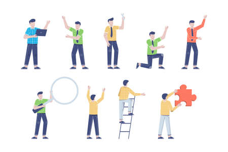 businessman or young man worker character presentation pose set with hand gesture in flat style isolated vector illustration