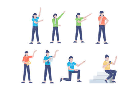 businesswoman or young woman worker character presentation pose set with hand gesture in flat style isolated vector illustration