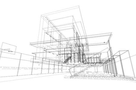 bocetos de personas: Proyecto arquitect�nico de vivienda de dibujo, por estilo de alambre, generado por computadora Foto de archivo