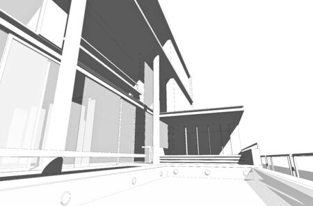 Architectural drawing, generated by computer Stock Photo - 9432681