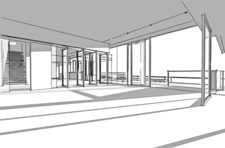 Architectural drawing, Inter project by hand-sketch style, generated by computer Stock Photo - 9432677