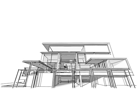 architectural exterior: Architectural drawing, housing project by hand-sketch style, generated by computer Stock Photo