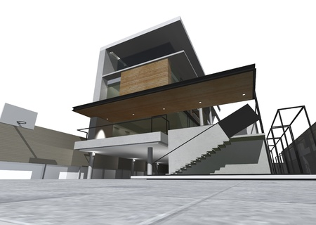 architectural architect: Architectural drawing, housing project by rendering style, generated by computer