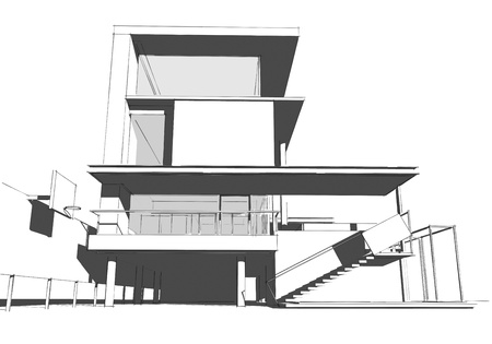 Architectural drawing, housing project by hand-sketch style, generated by computer Stock Photo - 9432675