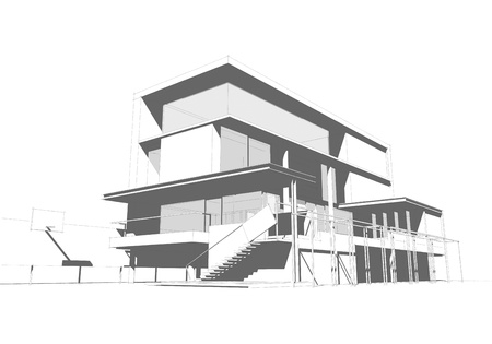 architectural style: Architectural drawing, housing project by hand-sketch style, generated by computer Stock Photo