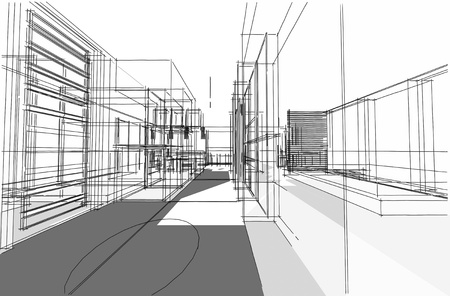 Architectural drawing, Interior project by hand-sketch style, generated by computer Stock Photo - 9432687
