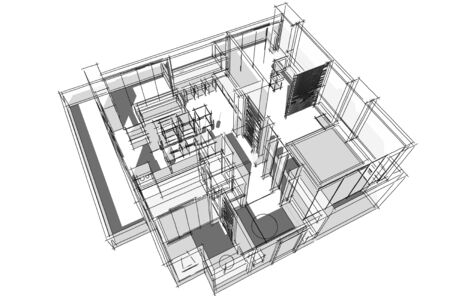 architectural drawing: Architectural drawing, Interior project by hand-sketch style, generated by computer
