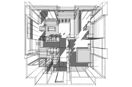 Architectural drawing, Interior project by hand-sketch style, generated by computer photo