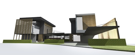 architectural exterior: Architectural drawing, housing project by rendering style, generated by computer