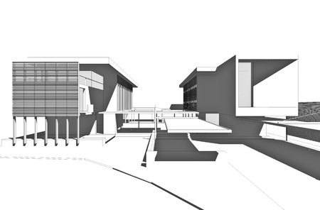 architectural exterior: Architectural drawing, generated by computer