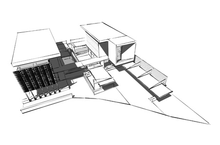 housing style: Architectural drawing, housing project by hand-sketch style, generated by computer Stock Photo