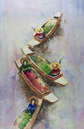 thai food: Thai floating market by watercolors painting