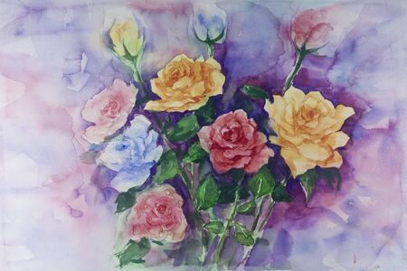 colorful roses by watercolors painting Stock Photo - 9432695