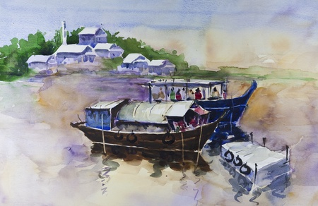 fishing village: fishing boat by watercolors painting