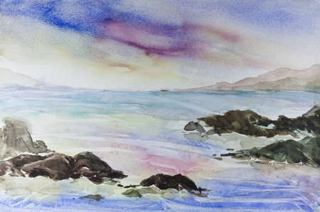 Sea and stone by watercolors painting photo