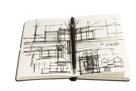 architectural sketchbook with black pen photo
