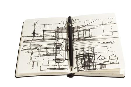 pad pen: Cuaderno de bocetos arquitect�nico con l�piz negro