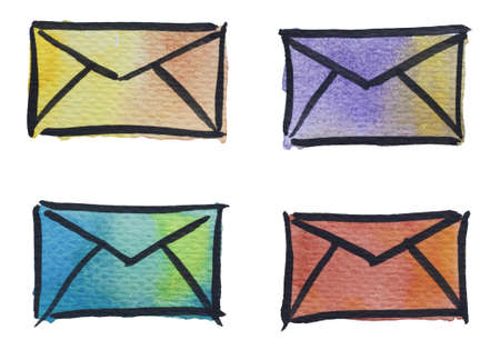 sent: 4 envelope icons by watercolors