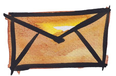 sent: orange envelope by watercolors