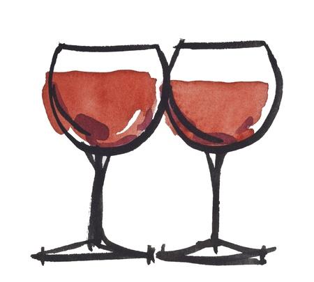 wineglass: wine glass by watercolors Stock Photo