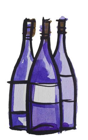 wine bottle by watercolors Stock Photo - 9440712