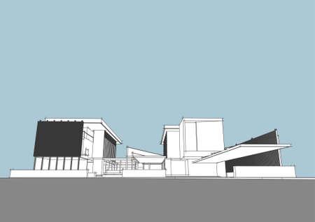 arquitecto: concepto arquitect�nico generado por computadora Vectores