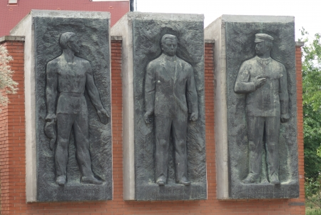 Bela Kun Jeno Landler Tibo Szamuely Memorial - The Endless Parade of the Personalities of the Workers Movement - Communist Monument - Memento Park - Budapest Editorial