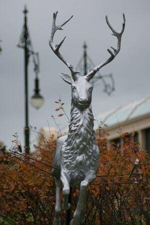 A statue of a reindeer