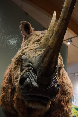 ice age: A giant extinct ice age Woolly Rhinoceros - Coelodonta antiquitatis Stock Photo