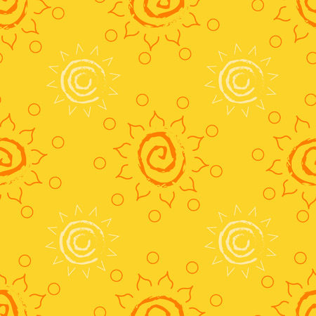 yellow african: Yellow seamless sun pattern. Bright and colorful background. Background in ethnic style. African motifs.  Illustration