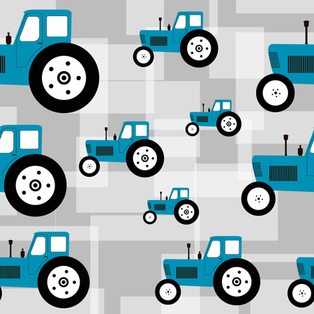 Seamless pattern with blue tractor on grey background Vettoriali