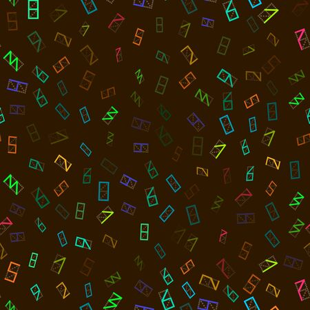 three dots: Seamless pattern of colorful figures. Brown background.