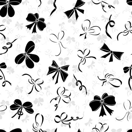 black ribbon bow: Seamless pattern with bows. Black silhouettes of bows on a white background. Vector illustration. Illustration