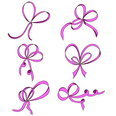 a bow: A set of six bows. Pink. Isolated on white background. Hand drawn.  Design element for invitation, gift, greeting card, website, etc. Vector illustration.