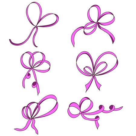nudos: Un conjunto de seis arcos. Rosado. Aislado en el fondo blanco. Dibujado a mano. elemento de diseño para la invitación, regalo, tarjetas de felicitación, página web, etc. Ilustración del vector. Vectores