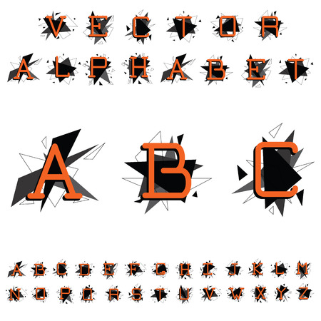 bright alphabet: Bright alphabet. Orange letters on a geometric background. Triangular pieces of black and gray. Isolated on white background. Vector illustration.