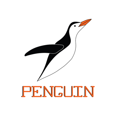 Penguin logo. Flightless marine bird. Abstract Emperor penguin icon. A silhouette of a penguin isolated on a white background. Vector illustration.