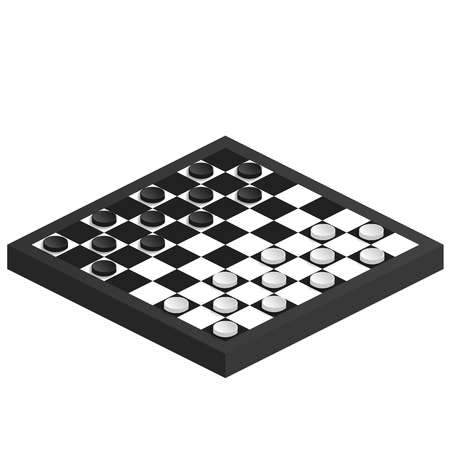 backgammon: Chessrboard in perspective. Isometric image of checkers. Black and white checkered playing field. Board game for children and adults. Isometric figures checkers. Vector illustration.