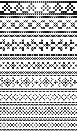 stitchcraft: Russian traditional seamless patterns. The cross-stitch. Set of borders and frames. Black color. Vector illustration.