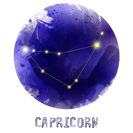 astrological: The Constellation Of Capricorn. Starry sky. Dark watercolor background of space. Bright shining stars. Zodiac constellation. Astrological sign. Vector illustration. Illustration