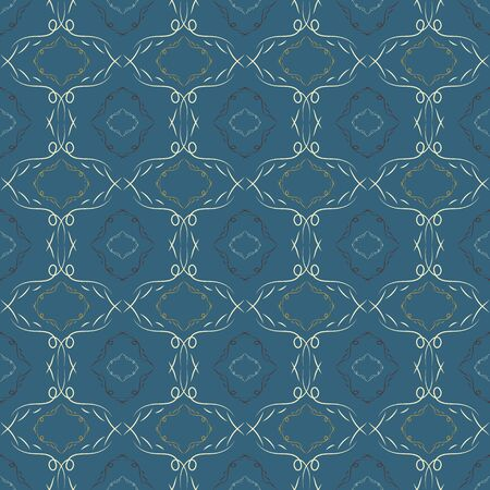 patterned wallpaper: Abstract seamless pattern. A dark blue background. Patterned Wallpaper. Curls and fancy shapes. Vector illustration. Illustration