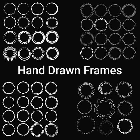 57: 57 painted white frames. A large set. Isolated on a black background. Hand drawn. Vector illustration.