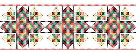 stitchcraft: Seamless pattern. The cross-stitch. Yellow, red, green, and black colors. Crafts and Hobbies. Design for frame, borders, fabric, clothing. Vector illustration. Illustration
