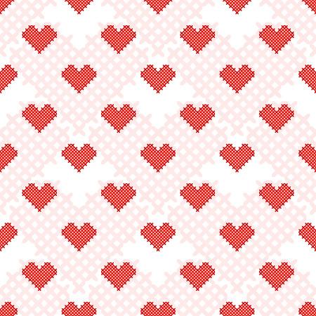 punto de cruz: Corazón rojo patrón transparente. Punto de cruz. Artesanía y aficiones. Día de San Valentín. Tarjeta del amor. Ilustración del vector.