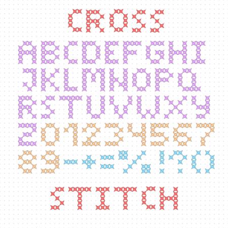 punto de cruz: El alfabeto latino. grandes letras en inglés. Punto de cruz. Números y signos aislados sobre fondo blanco. Ilustración del vector.