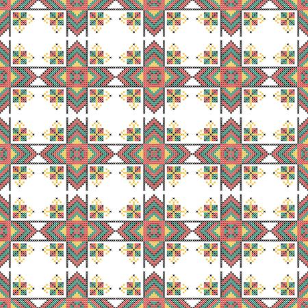 punto de cruz: Patr�n sin fisuras. El punto de cruz. Los colores amarillo, rojo, verde y negro. Artesan�a y aficiones. Fondo blanco. la repetici�n sim�trica. Ilustraci�n del vector.