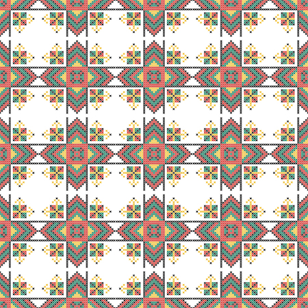 decorative pattern: Seamless pattern. The cross-stitch. Yellow, red, green, and black colors. Crafts and Hobbies. White background. Symmetrical repetition. Vector illustration.